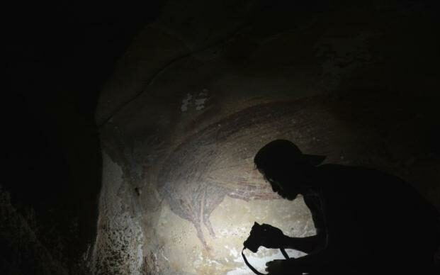 The world's oldest cave murals are exposed dating back to 45,000 years ago.